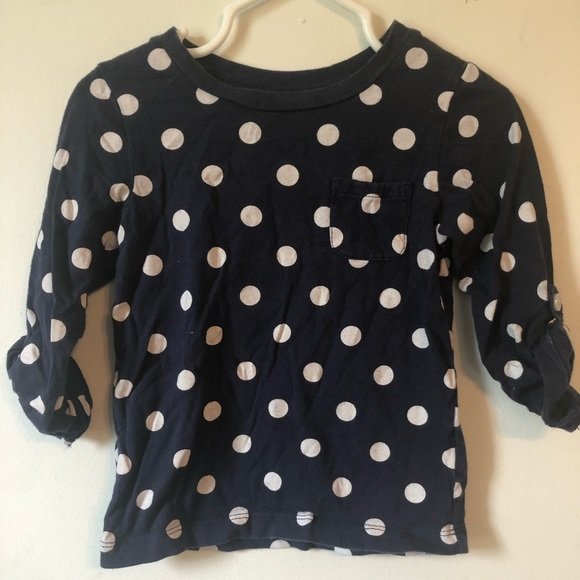 Carter's Other - Carters 2T 3/4 length sleeve Navy Blue Polka Dot